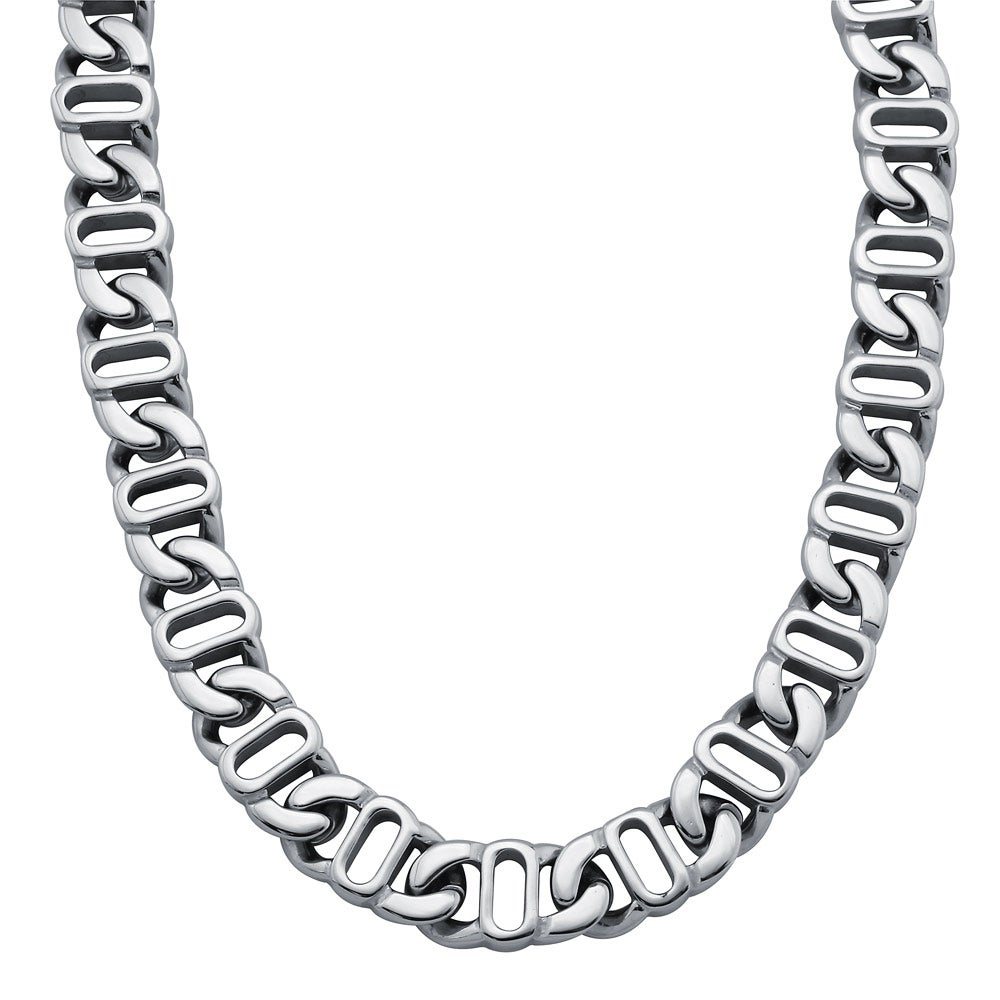 Stainless Steel 24-inch Mariner Link Chain Necklace