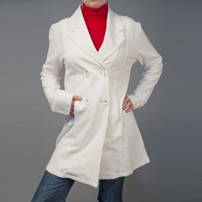AtoZ Women's Ivory Cotton Trench Coat