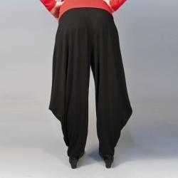 AtoZ Women's Black Folded Hem Harem Pants