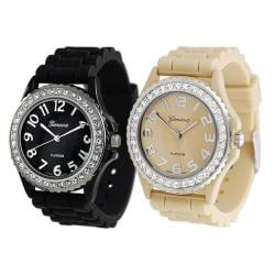 Geneva Platinum Women's Rhinestone-Accented Tan/Black Silicone Watch (Set of 2)