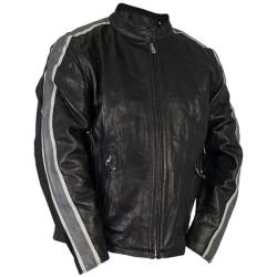 Leather Men's Grey Arm Stripes Motorcycle Jacket