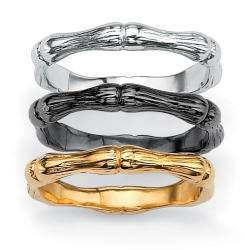 Isabella Collection Tri-color Bamboo Style 3-piece Ring Set