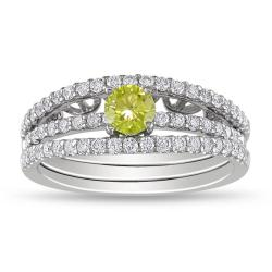 18k White Gold 7/8ct TDW Yellow and White Diamond Ring Set (G-H, SI1-SI2)