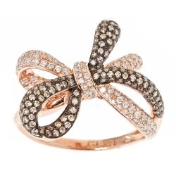 D'Yach 14k Rose Gold 7/8ct TDW Brown and White Diamond Bow Cocktail Ring (G-H, I1-I2)