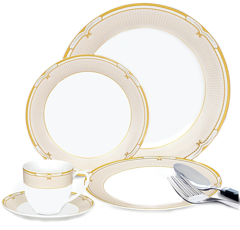 Lorenzo 20-piece Porcelain Green and Gold Dinnerware Set