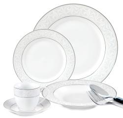 Lorenzo 20-piece Porcelain Silver/ White Dinnerware Set