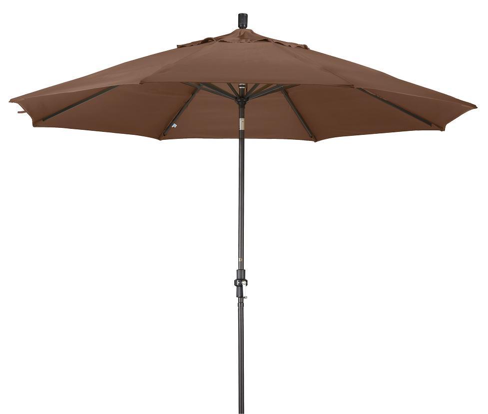 Aluminum 11-ft Teak Patio Umbrella with Sunbrella