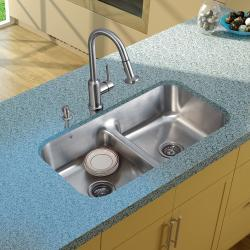 Vigo Undermount Stainless Steel Kitchen Sink/ Faucet/ Two Strainers/ Dispenser