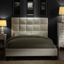 ETHAN HOME Sarajevo White Vinyl Column King-size Platform Bed