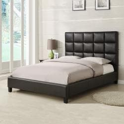 ETHAN HOME Sarajevo Dark Brown Vinyl Column King-size Platform Bed