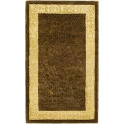 Handmade Majestic Chocolate/ Light Gold N. Z. Wool Rug (2'6 x 4')