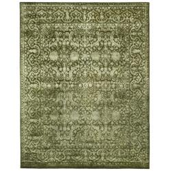 Handmade Silk Road Majestic Sage New Zealand Wool Rug (8'3 x 11')