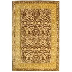Handmade Silk Road Majestic Brown/ Ivory N. Z. Wool Rug (6' x 9')