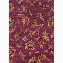Hand-tufted Mandara Purple Floral Wool Rug (9' x 13')