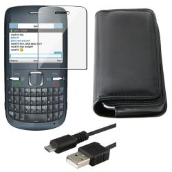 Leather Case/ Screen Protector/ USB Data Cable for Nokia C3