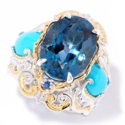 Michael Valitutti Two-tone London Blue Topaz, Turquoise and Sapphire Ring