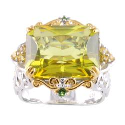 Michael Valitutti Two-tone Green Amber, Chrome Diopside and Sapphire Ring