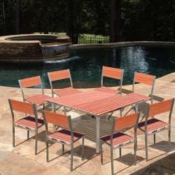 "Casimir 59"" Square Stainless Steel Frame 9-Piece Dining Set"
