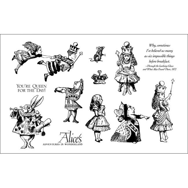 Alice In Wonderland Rubber Stamp Set with Plastic Storage Case