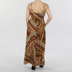 Mlle Gabrielle Women?s Tan Printed Crepe Maxi Dress