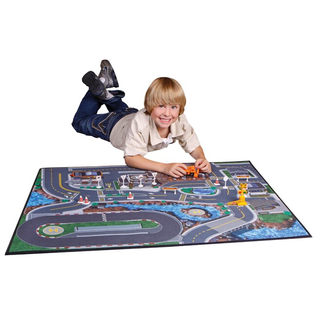 Blue Hat Carpet Play Mat With Cars Toy Set