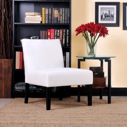 Niles White Microfiber Armless Chair