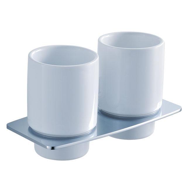 Kraus Fortis Wall-mounted Double Ceramic Tumbler Holder