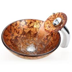 Kraus Golden Sunset Glass Vessel Sink and Waterfall Faucet
