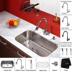 Kraus 30-inch Undermount Single Bowl Stainless Steel Kitchen Sink with Kitchen Faucet and Soap Dispenser