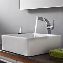 Kraus Modern White Square Ceramic Sink and Typhon Faucet