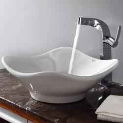 Kraus White Tulip Ceramic Sink and Typhon Faucet