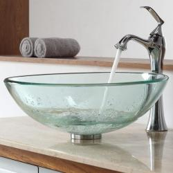 Kraus Clear Glass Vessel Sink and Ventus Faucet
