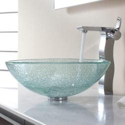 Kraus Broken Glass Vessel Sink and Sonus Faucet
