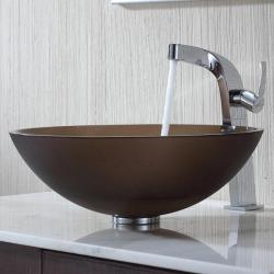 Kraus Frosted Brown Glass Vessel Sink and Typhon Faucet