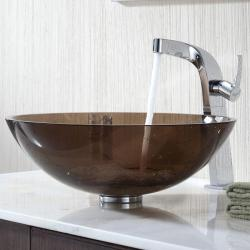 Kraus Clear Brown Glass Vessel Sink and Typhon Faucet