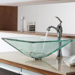 Kraus Clear Aquamarine Glass Vessel Sink and Ventus Faucet