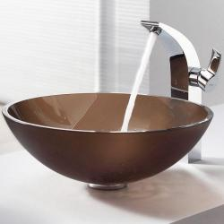 Kraus Frosted Brown Glass Vessel Sink and Illusio Faucet