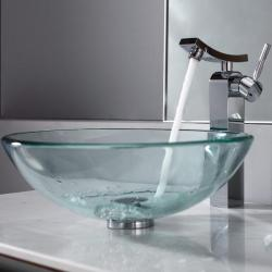 Kraus Clear Glass Vessel Sink and Unicus Faucet