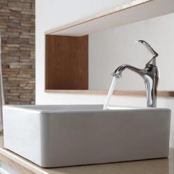 Kraus White Square Ceramic Sink and Ventus Faucet