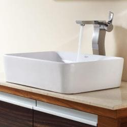 Kraus White Rectangular Ceramic Sink and Sonus Faucet