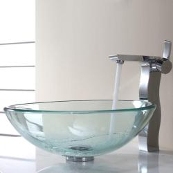 Kraus Clear Glass Vessel Sink and Sonus Faucet