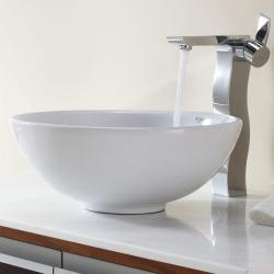 Kraus White Round Ceramic Sink and Sonus Faucet