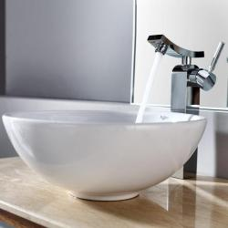 Kraus White Round Ceramic Sink and Unicus Solid Brass Faucet
