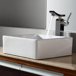 Kraus White Square Ceramic Sink and Unicus Faucet