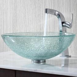 Kraus Broken Glass Vessel Sink and Typhon Faucet
