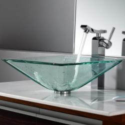 Kraus Clear Aquamarine Glass Vessel Sink and Unicus Faucet