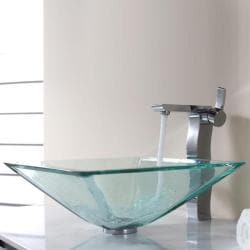 Kraus Clear Aquamarine Glass Vessel Sink and Sonus Faucet