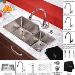 Kraus 32-inch Undermount Double Bowl Stainless Steel Kitchen Sink with Kitchen Faucet and Soap Dispenser