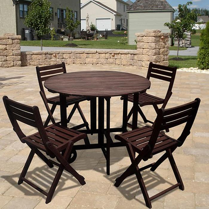 Casimir Outdoor Wood Table And Folding Chairs Set