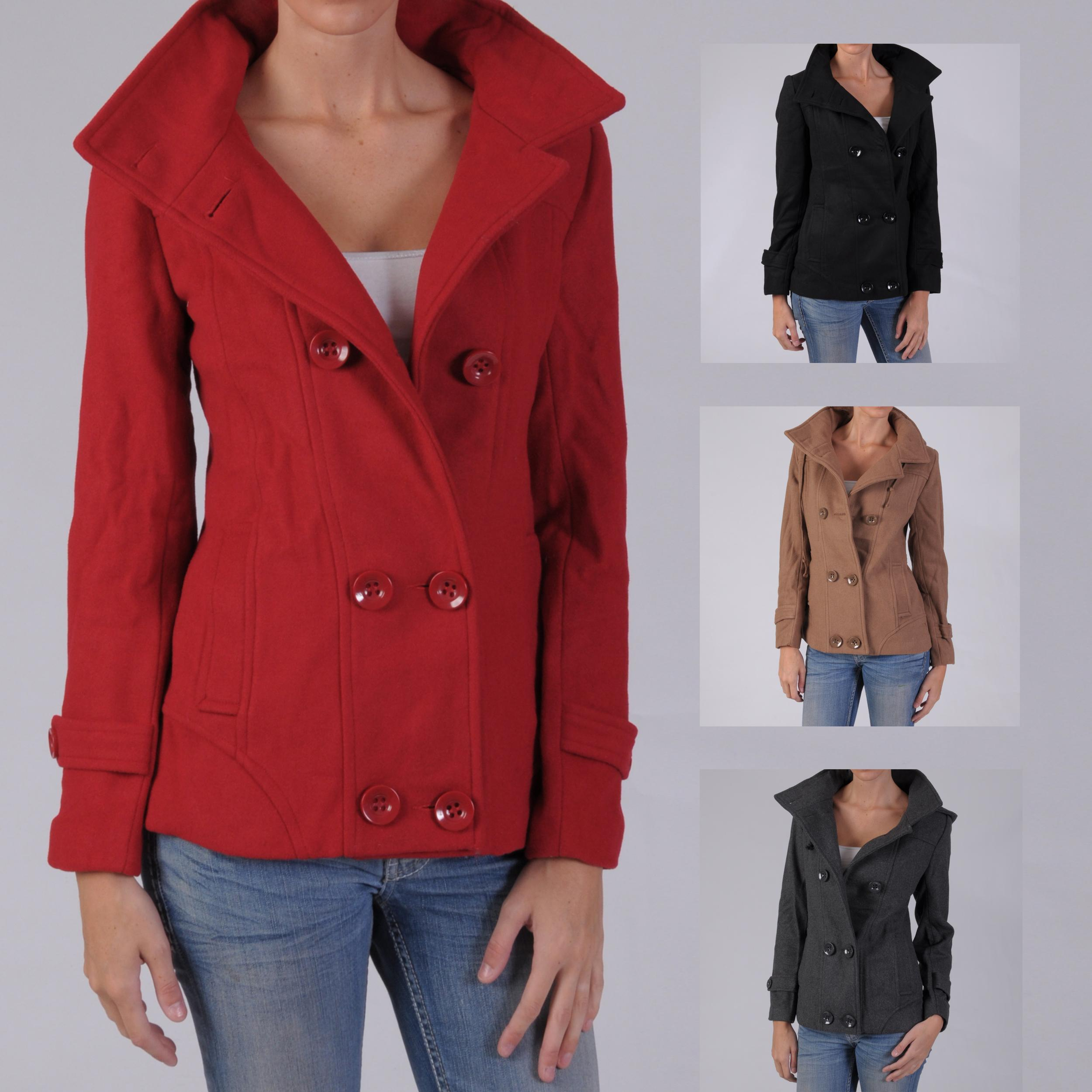 Ci Sono by Journee Junior's Wool-blend Hooded Double-breasted Coat